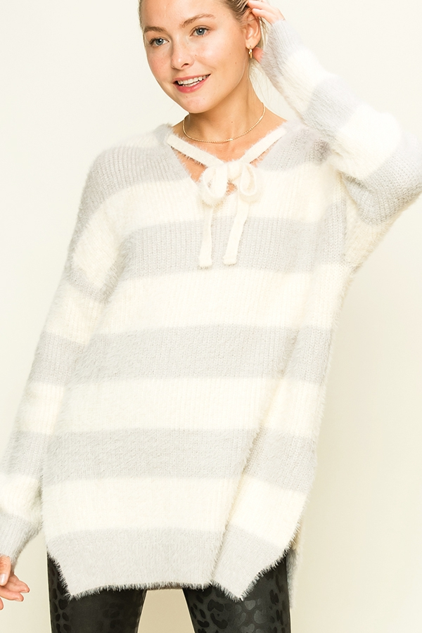 BLOCK STRIPE OVERSIZED PULLOVER - orangeshine.com