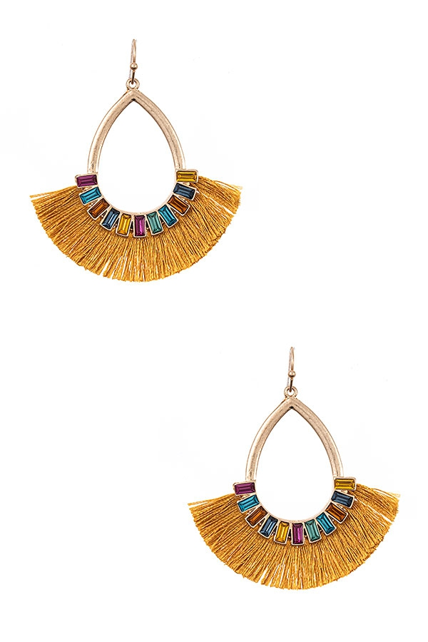 GEM LINK TASSEL FAN EARRING - orangeshine.com