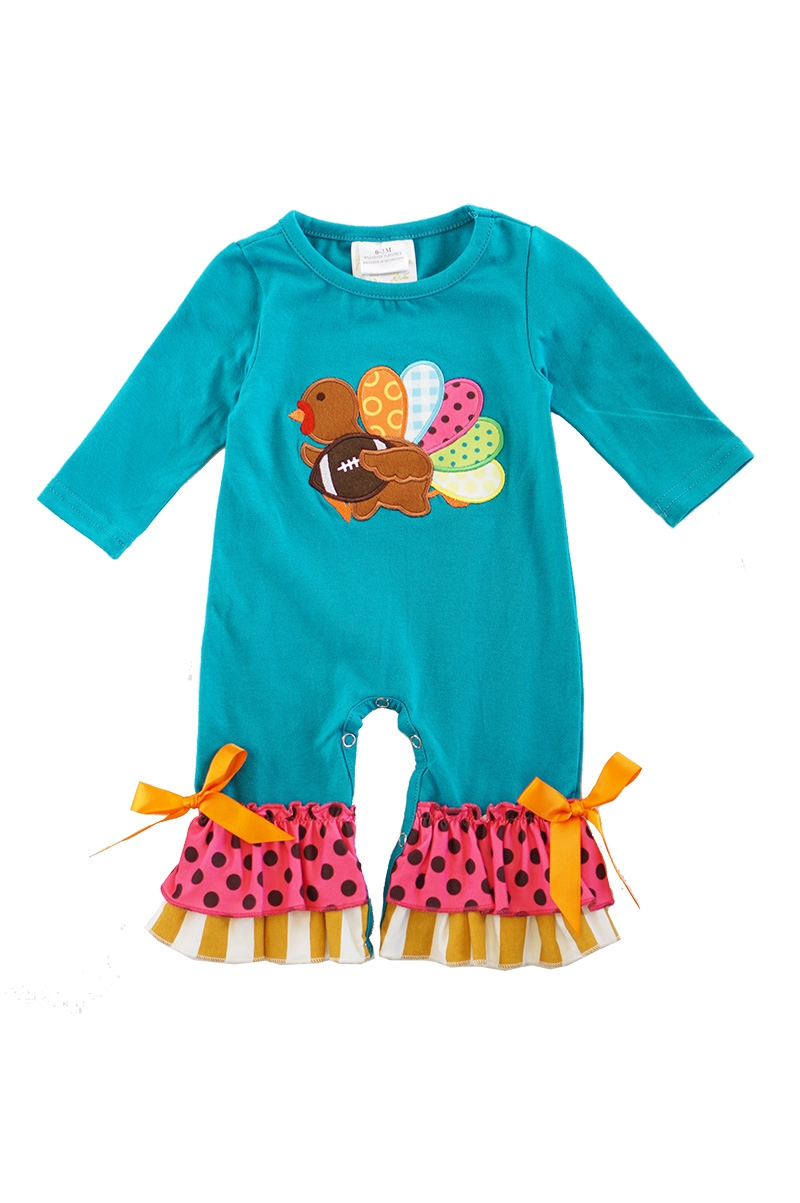 Teal turkey applique ruffle baby - orangeshine.com