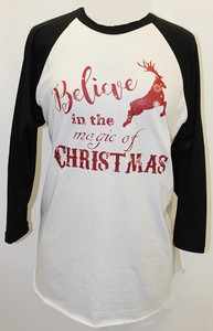 Believe In Magic Black Sleeve Raglan - orangeshine.com