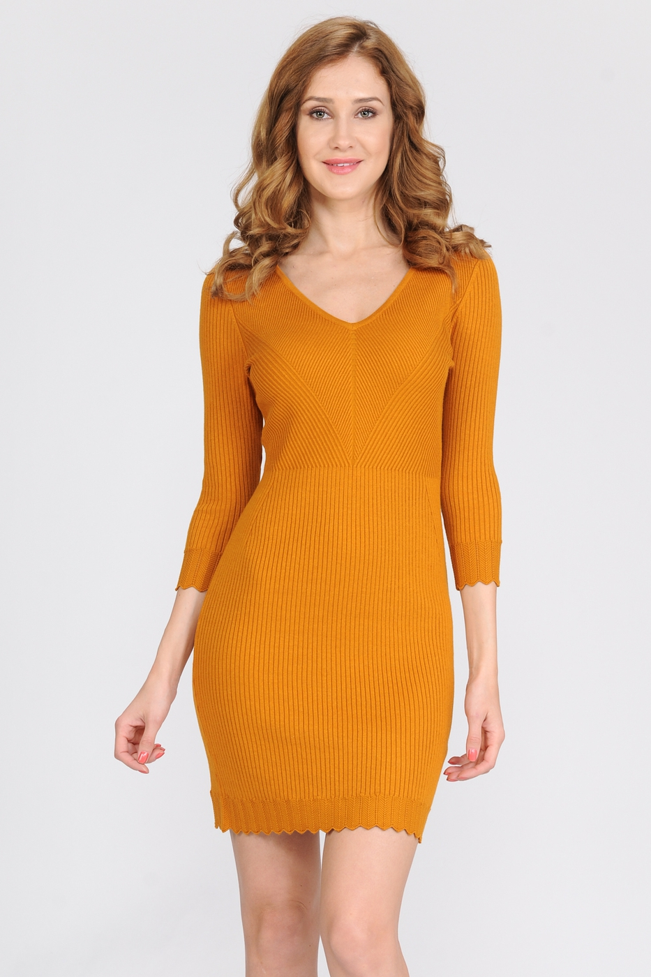 Ribbed Fitted Sweater Dress  - orangeshine.com