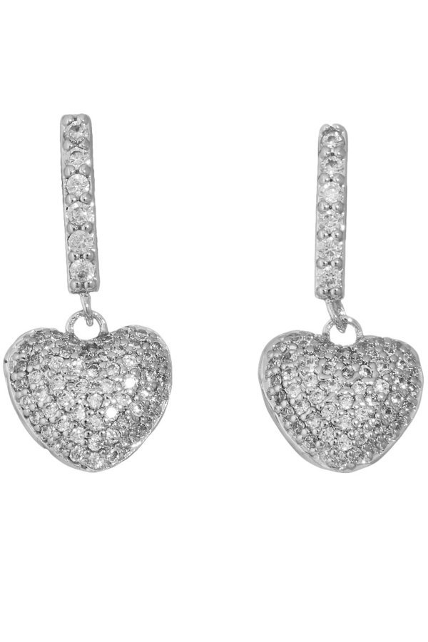 Pave cz heart dangle earrings - orangeshine.com