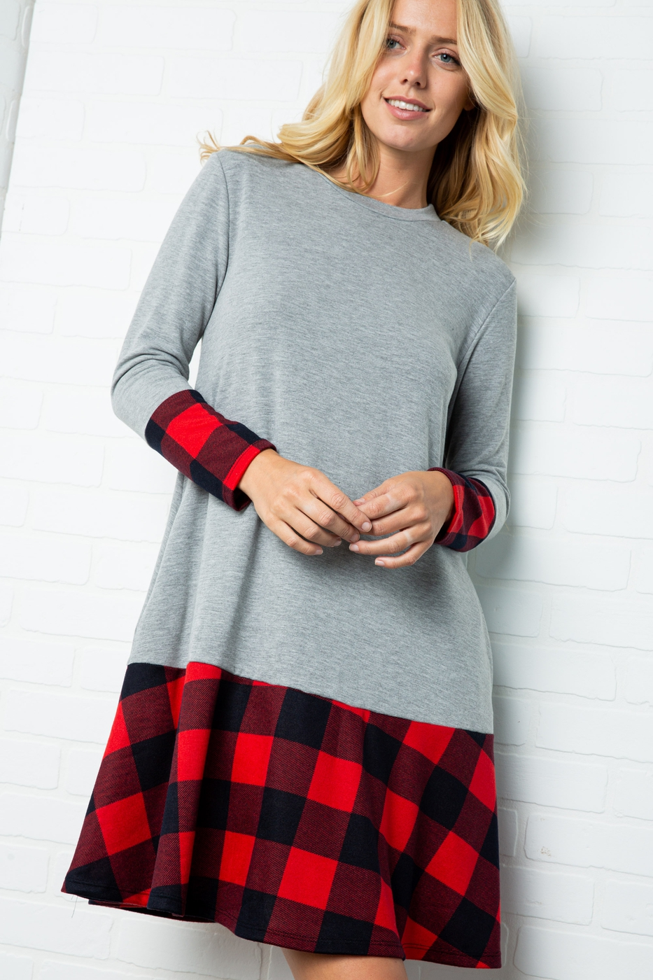 SOLID LONG SLEEVE DRESS WITH FLANNEL - orangeshine.com