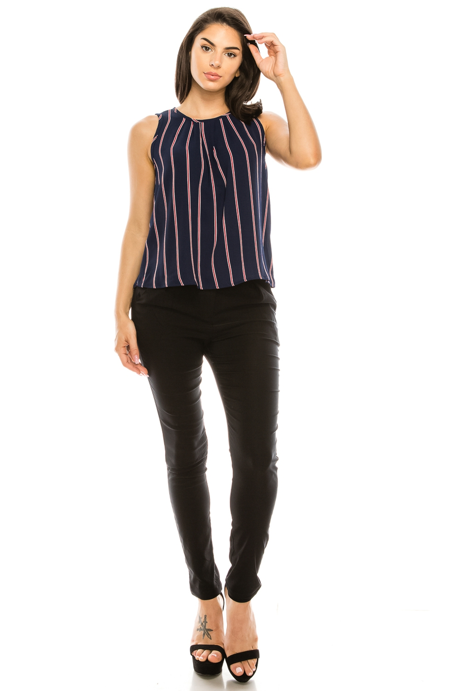 Striped Sleeveless Top - orangeshine.com