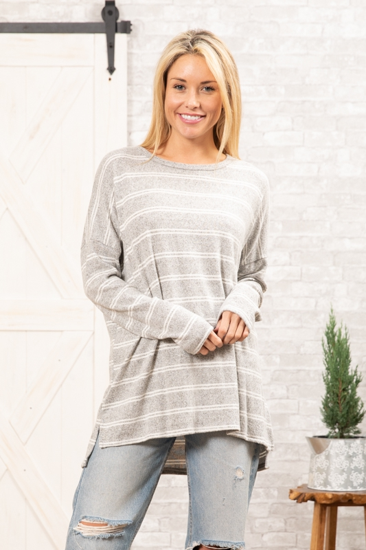 BRUSHED STRIPE SWEATER KNIT TUNIC - orangeshine.com