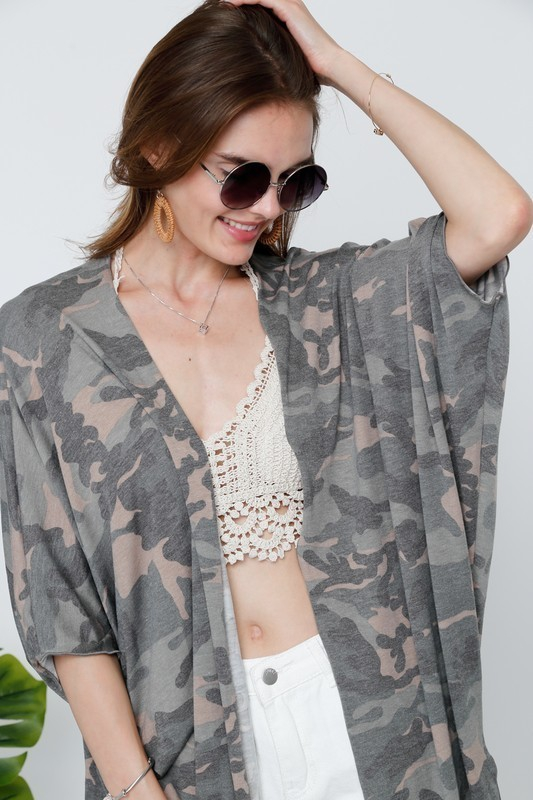 LOOSE FIT CAMOUFLAGE CARDIGAN - orangeshine.com