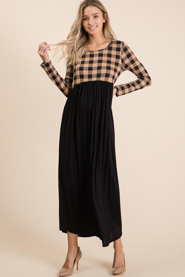 CHECKER COLOR BLOCK MAXI DRESS - orangeshine.com
