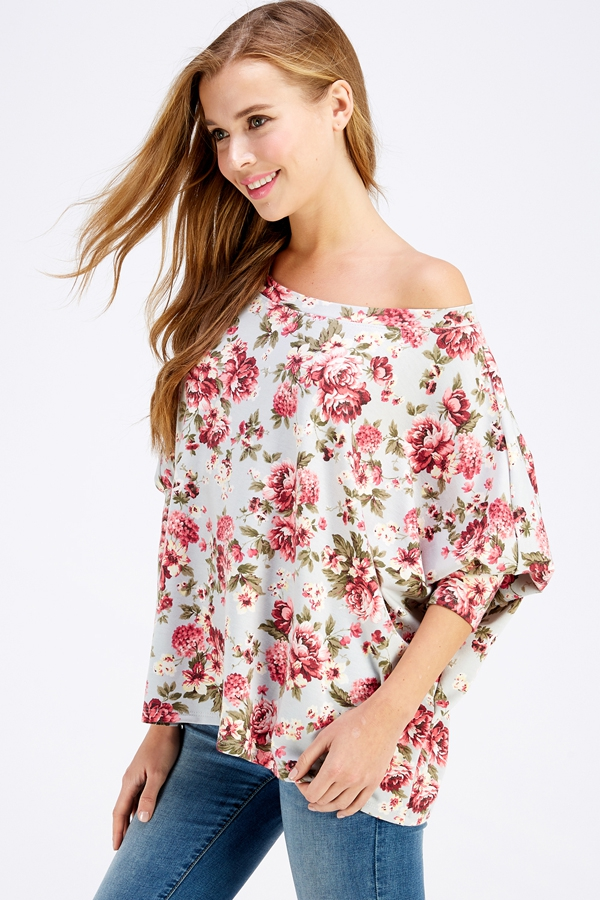 FLORAL PUFF SLEEVE WIDE NECK TOP - orangeshine.com