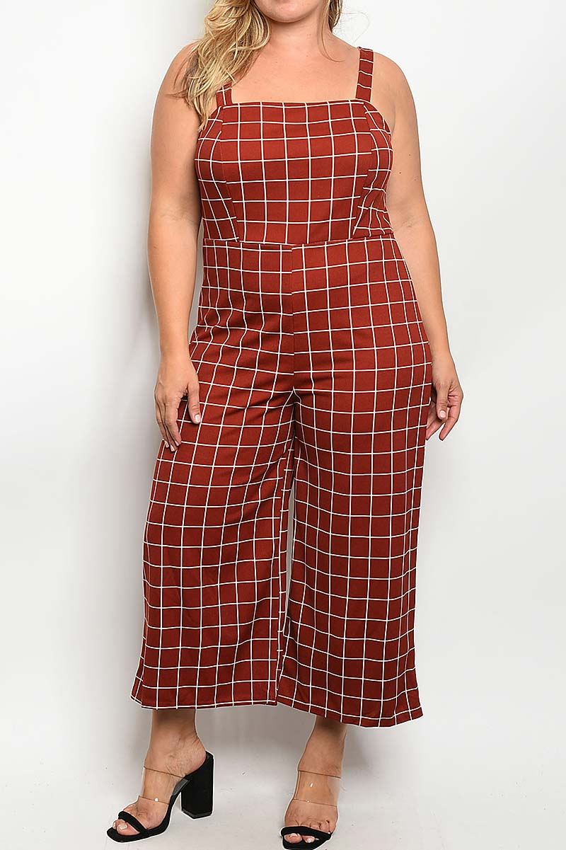 PLAID WIDE LEG JUMPSUIT  - orangeshine.com