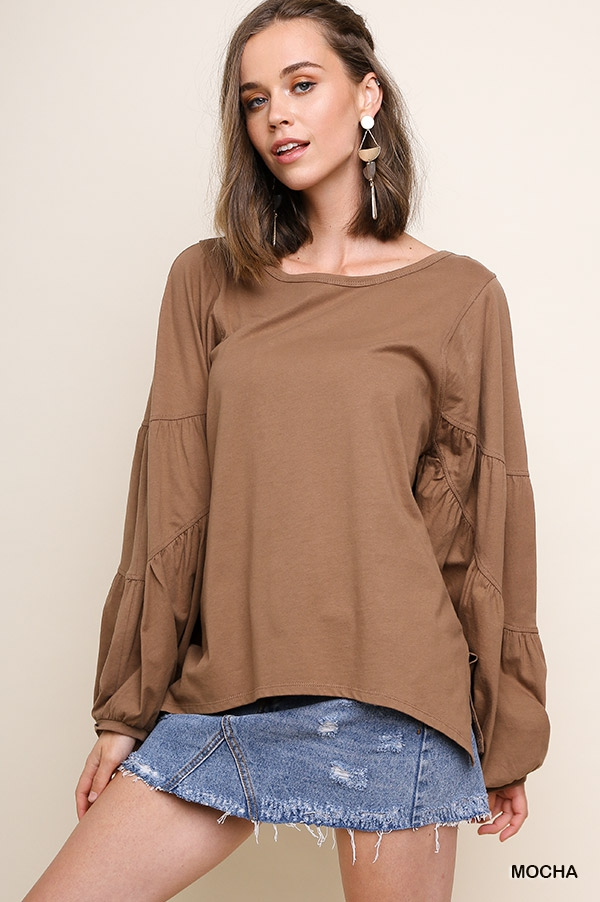 Puff Sleeve High Low Basic Top - orangeshine.com