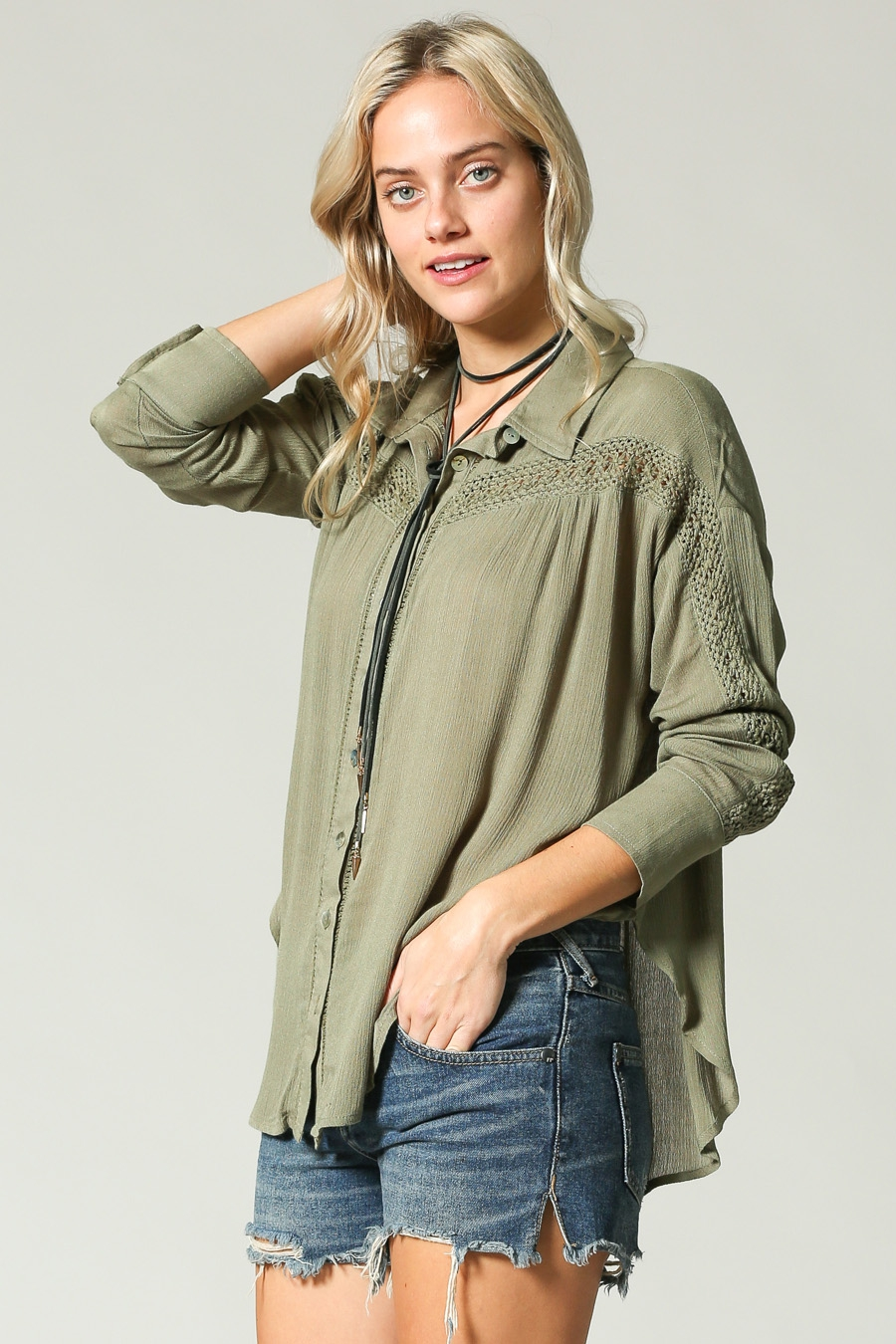 OPEN LACE TRIM DETAILED SHIRT - orangeshine.com