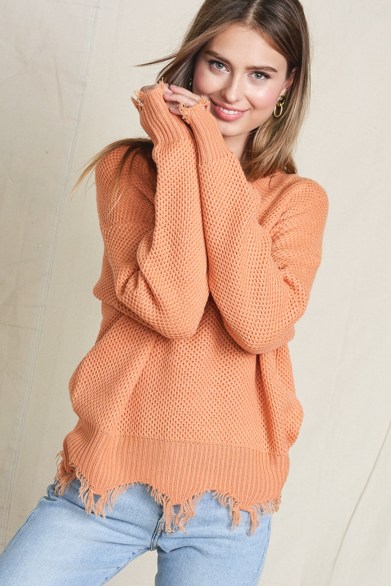 Raw Hem Sweater - orangeshine.com