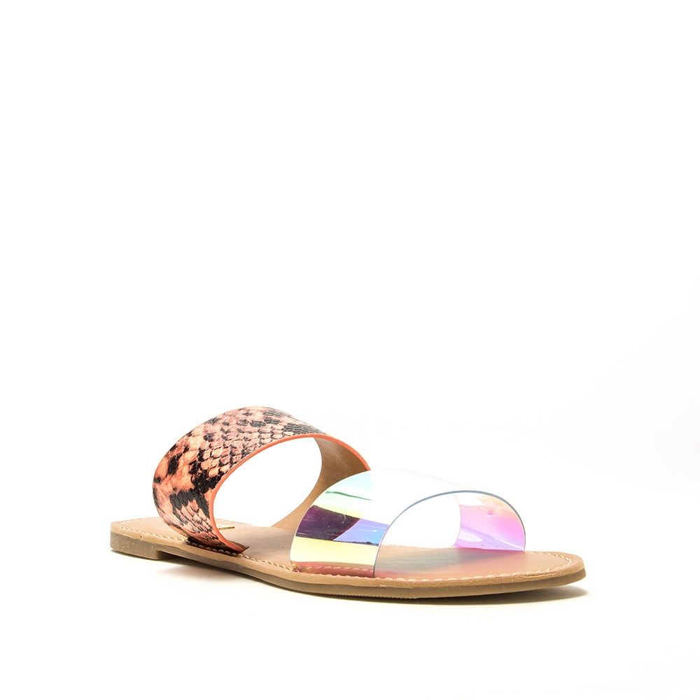 Qupid Transparent Flat Slide Sandals - orangeshine.com