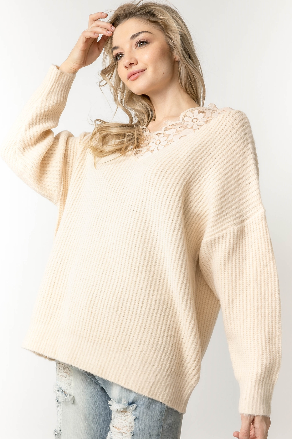 FLORAL LACE ACCENT RIBBED KNIT OVERE - orangeshine.com