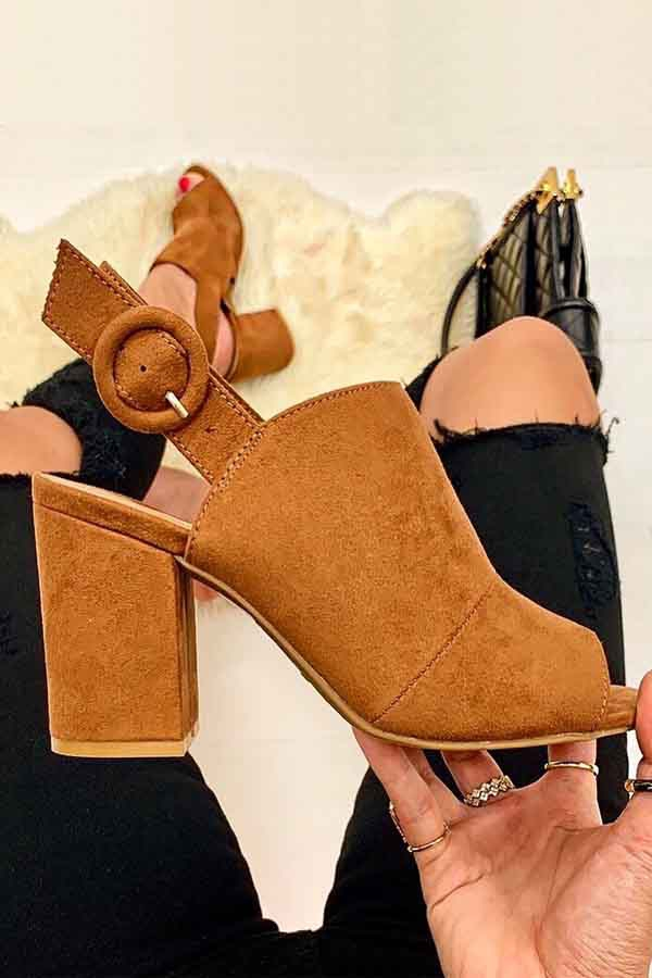 Chunky High Heel Sandals - orangeshine.com