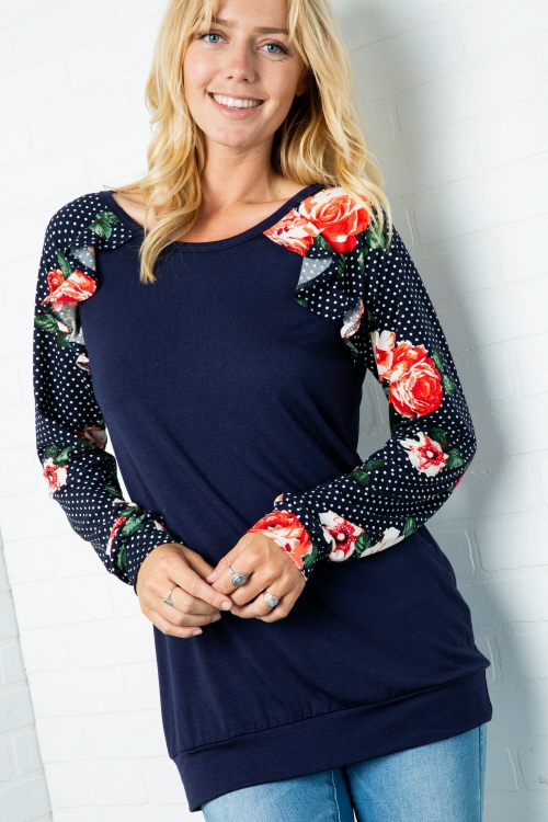 Plus Floral contrast long sleeve rou - orangeshine.com