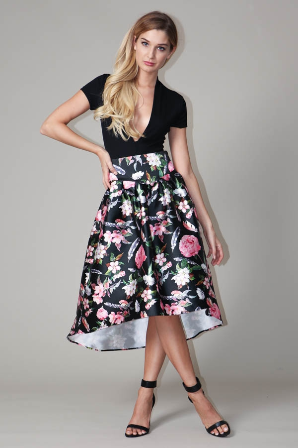 High Low Pleated Floral Print Skirt  - orangeshine.com