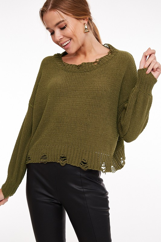 Distressed Cropped Sweater Top - orangeshine.com