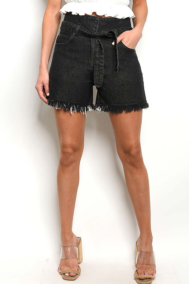 WAIST TIE  FRAYED HEM DENIM SHORTS - orangeshine.com