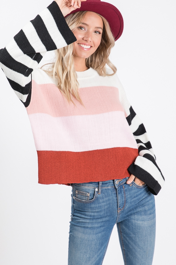LONG WIDE SLEEVE COLOR BLOCK SWEATER - orangeshine.com