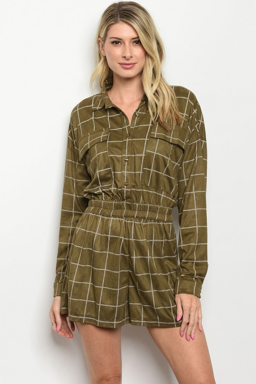Long sleeve button grid romper - orangeshine.com