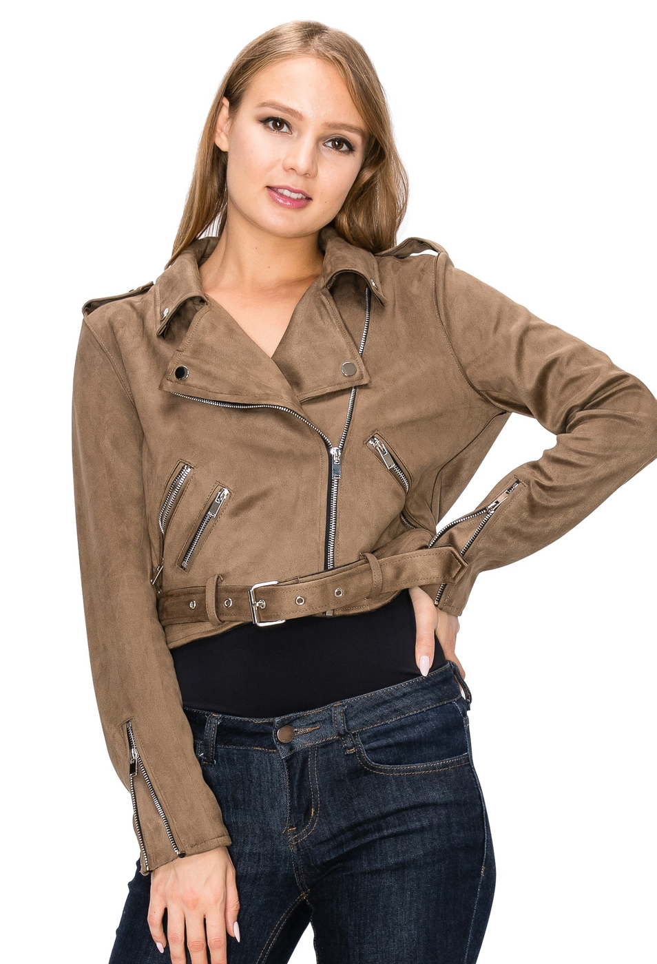 swede belted moto jacket  - orangeshine.com