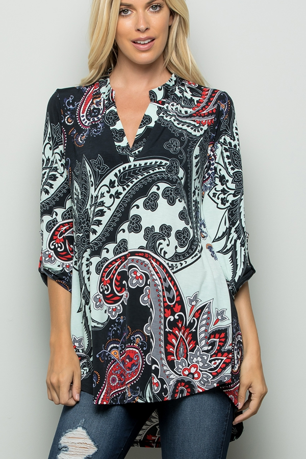 MULTI PRINT COLLAR TOP - orangeshine.com