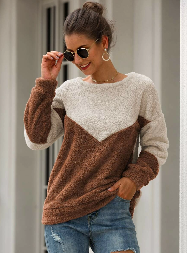 Two Tone Chevron Teddy Sweatshirt - orangeshine.com