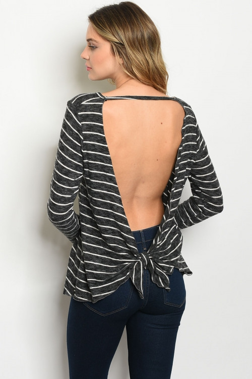 LONG SLEEVE OPEN BACK TIE TOP - orangeshine.com
