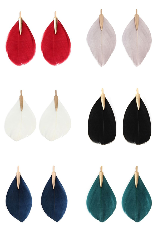 3 INCHES SINGLE FEATHER POST EARRING - orangeshine.com
