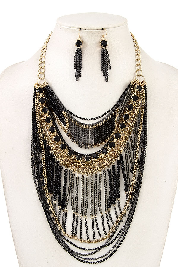 DRAPPED CHAIN BIB NECKLACE SET  - orangeshine.com