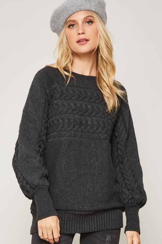 CABLE KNIT BISHOP SLEEVE SWEATER - orangeshine.com