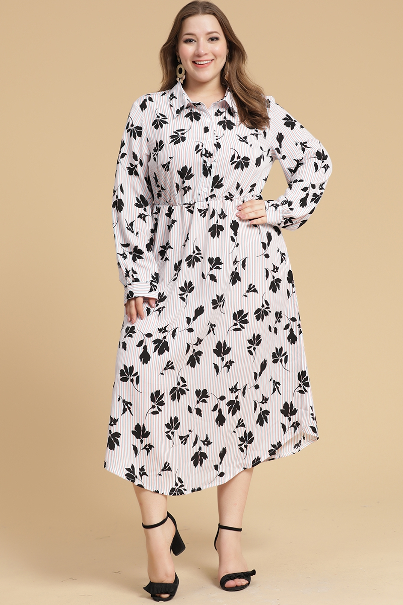 long sleeve plus size long shirt dress - orangeshine.com
