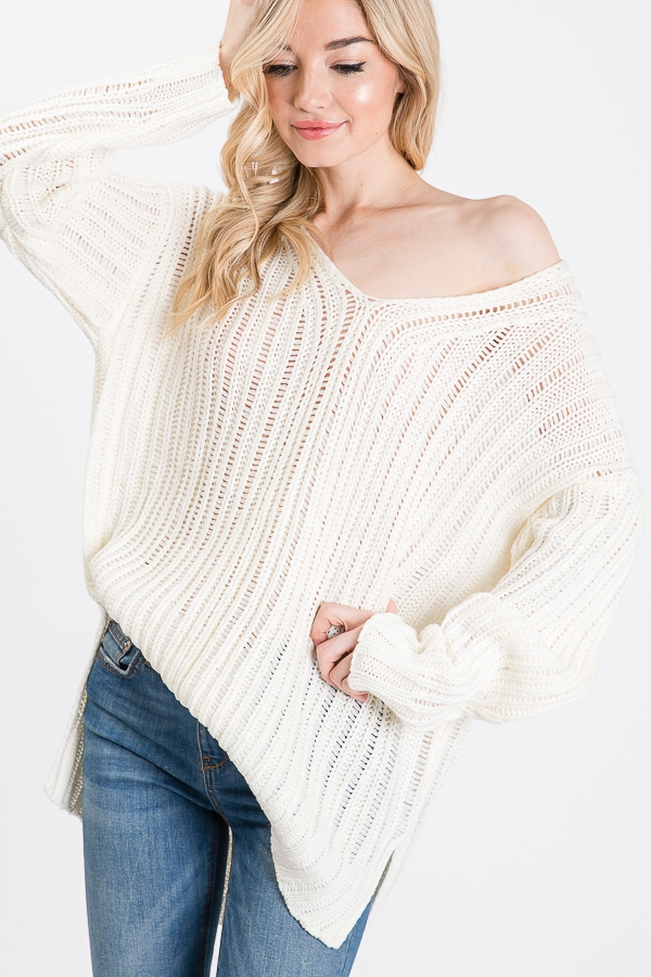 V NECK SOLID SWEATER  - orangeshine.com