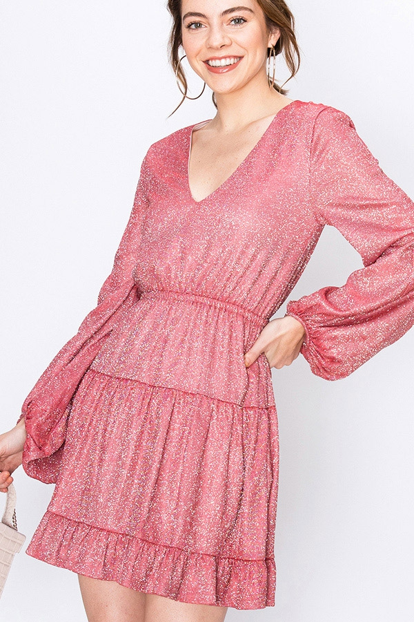 SPARKLE V-NECK DRESS WITH RUFFLE - orangeshine.com