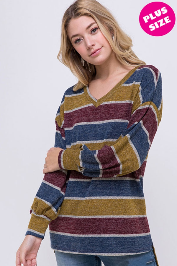 Bubble Sleeve Slit Multi Stripe Top - orangeshine.com