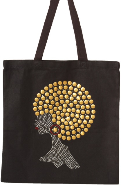 New Gold Pompom Hair Afro Lady Tote  - orangeshine.com