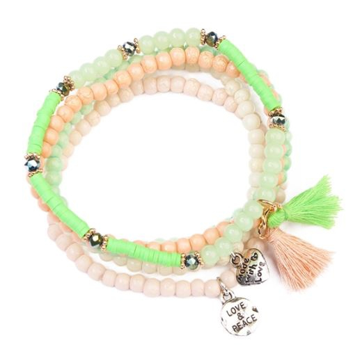 TASSEL BEADED STRETCH BRACELET - orangeshine.com