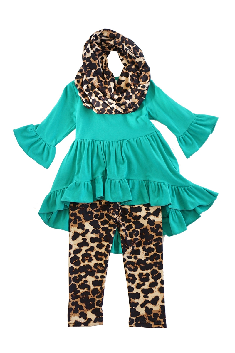 Teal tunic with leopard pants scarf - orangeshine.com