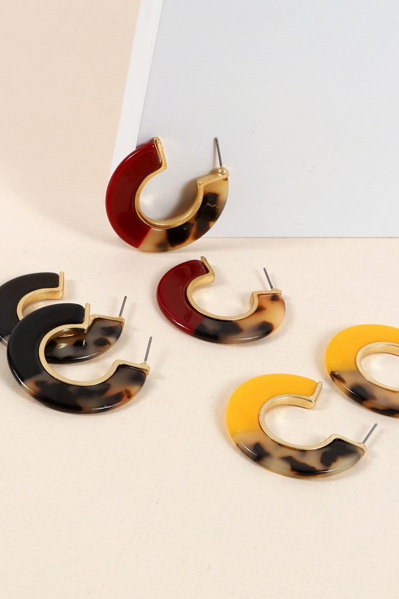 Acetate Open Hoop Mini Earrings - orangeshine.com
