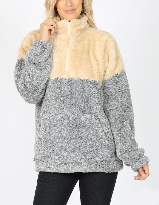 CONTRAST MELANGE FAUX FUR ZIP-UP - orangeshine.com