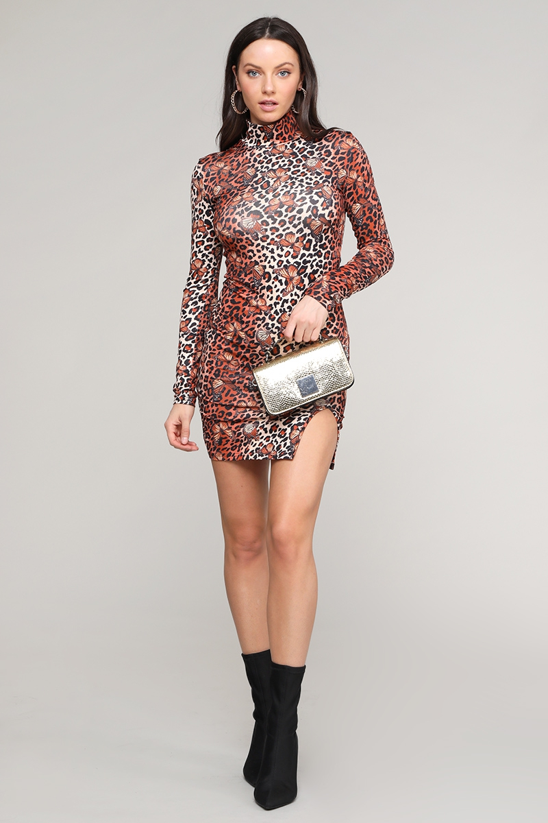 Sexy high neck print dress - orangeshine.com