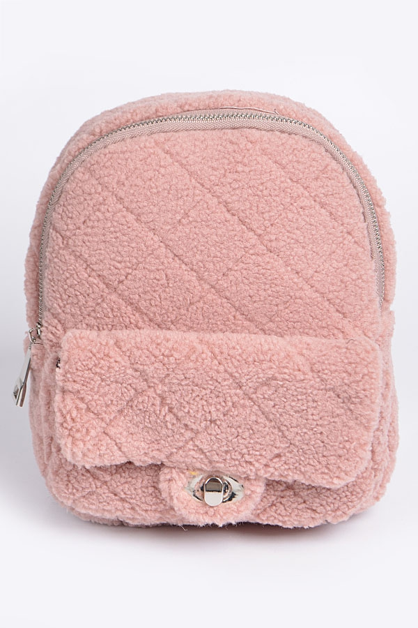 Fluffy Flap Zipper Backpack - orangeshine.com