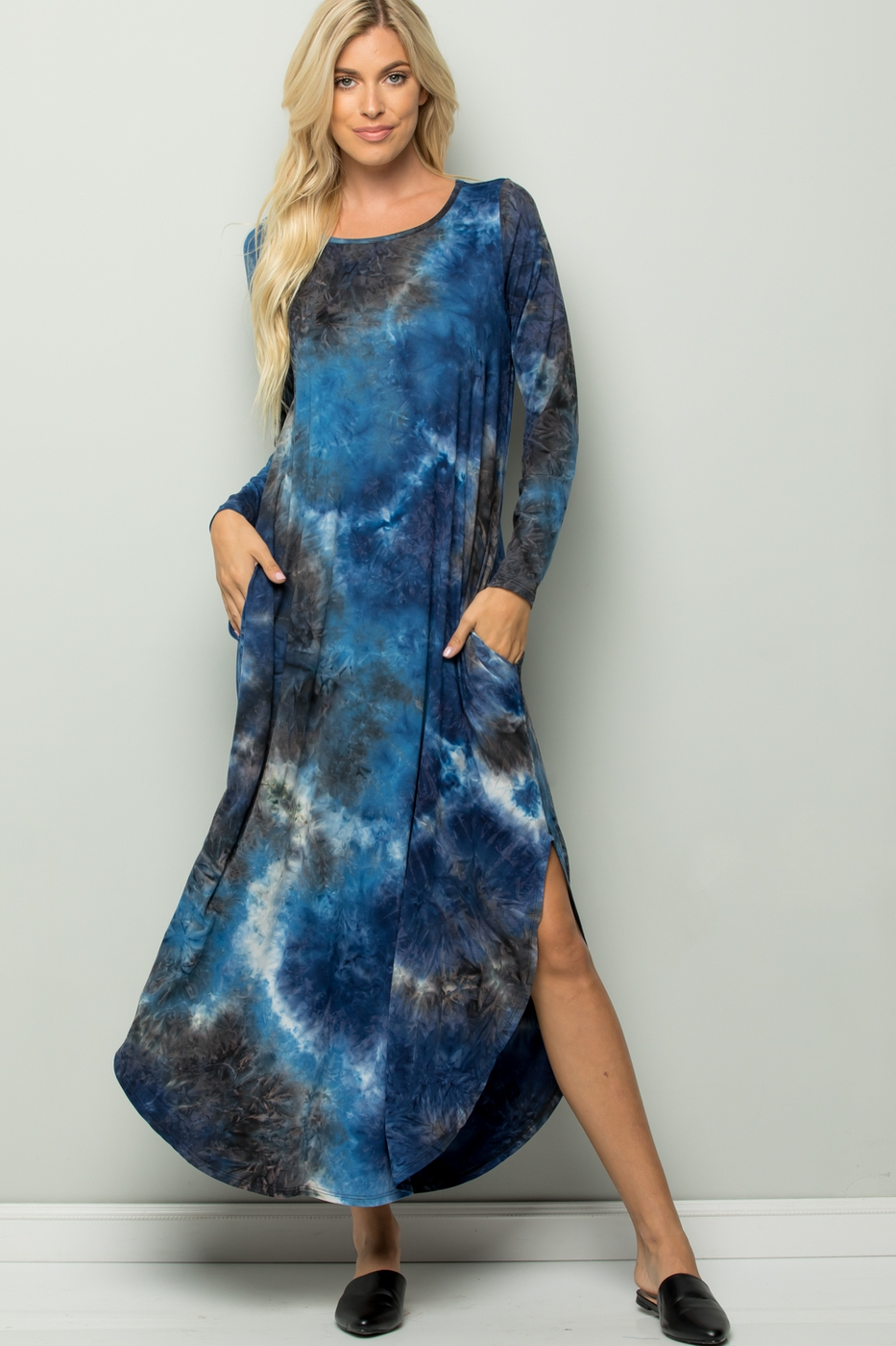 TIE DYE LONG SLEEVE MAXI DRESS  - orangeshine.com