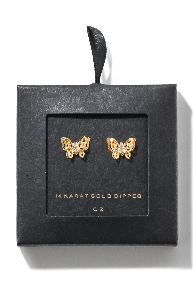 Intricate Butterfly Stud Earrings - orangeshine.com
