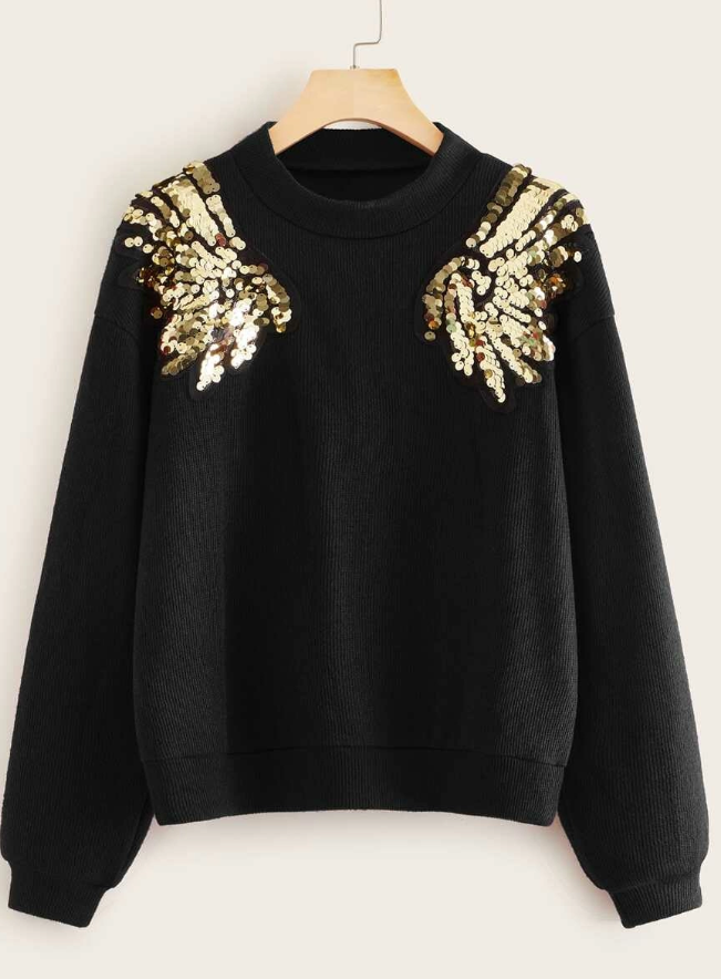 Contrast Wings Sequin Sweater - orangeshine.com