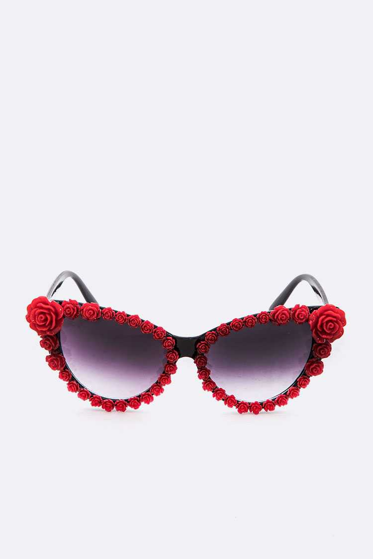 Red Rose Iconic Cat Eye Sunglasses - orangeshine.com