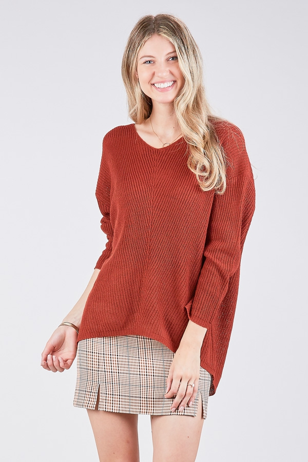 LONG SLEEVE HI-LOW TUNIC TOP - orangeshine.com