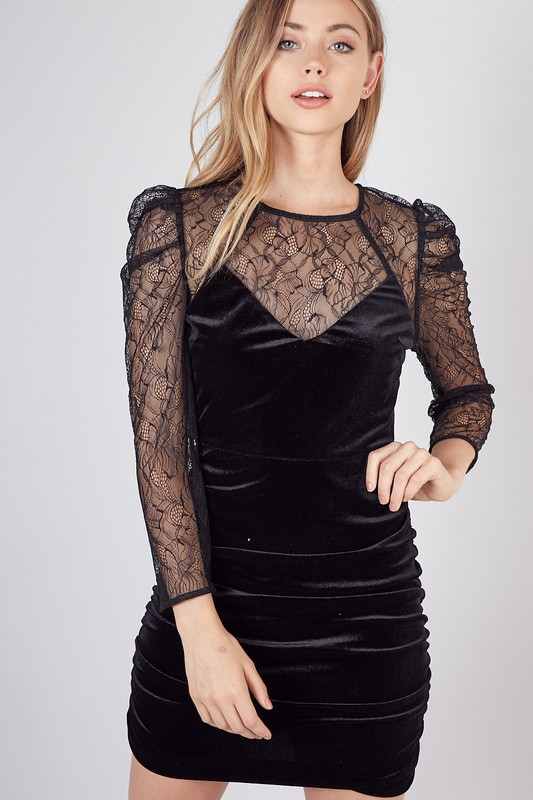 VELVET WITH LACE DRESS - orangeshine.com