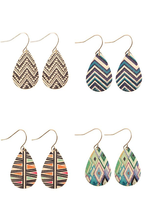 TEARDROP CHEVRON HOOK DROP EARRINGS - orangeshine.com